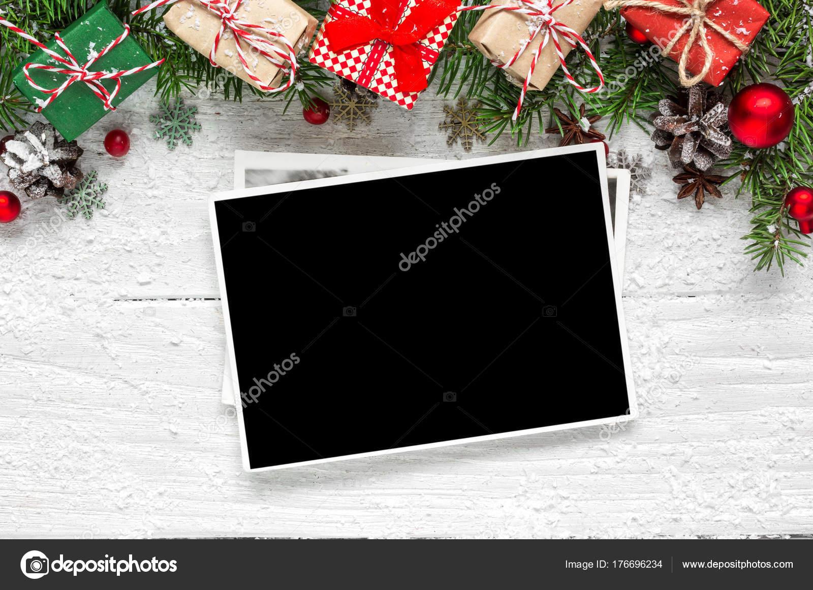 Weihnachten leere Bilderrahmen mit Tannenzweigen Baum, Dekorationen ...