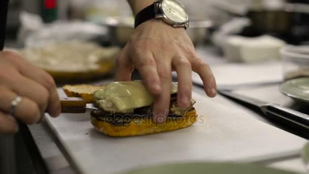Chef making a sandwich