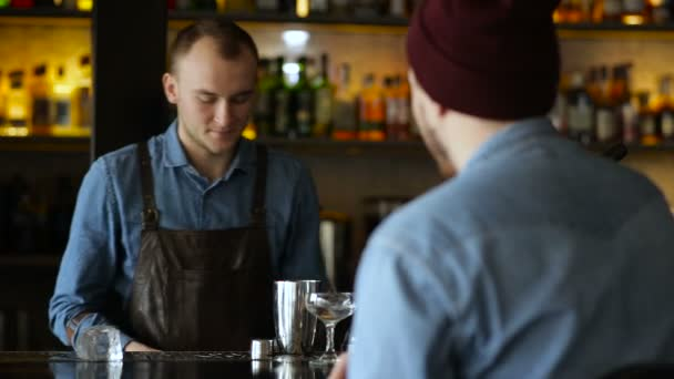 Bartender and the customer communicate at the bar during cocktail preparation