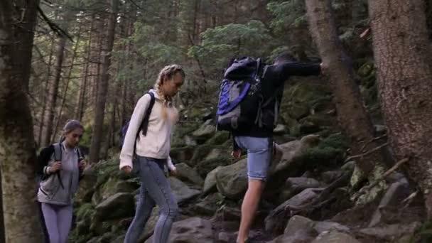 Túrázás az emberek. A hegyi túrázó trió. Két nő és férfi trekkers, erdei út, a hátizsák, séta