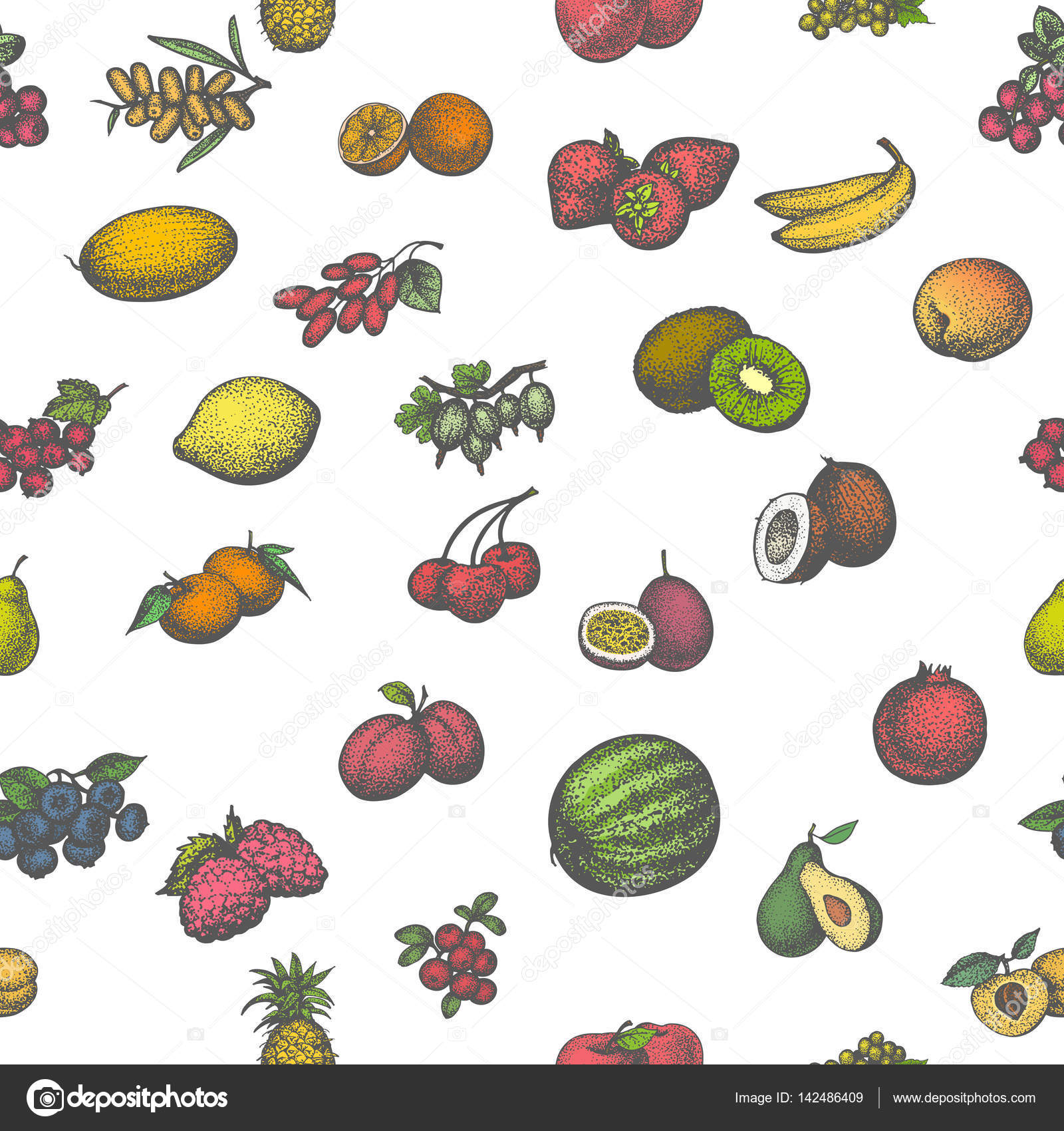 Colored seamless pattern big set juicy ripe fruit — Stock Vector ...