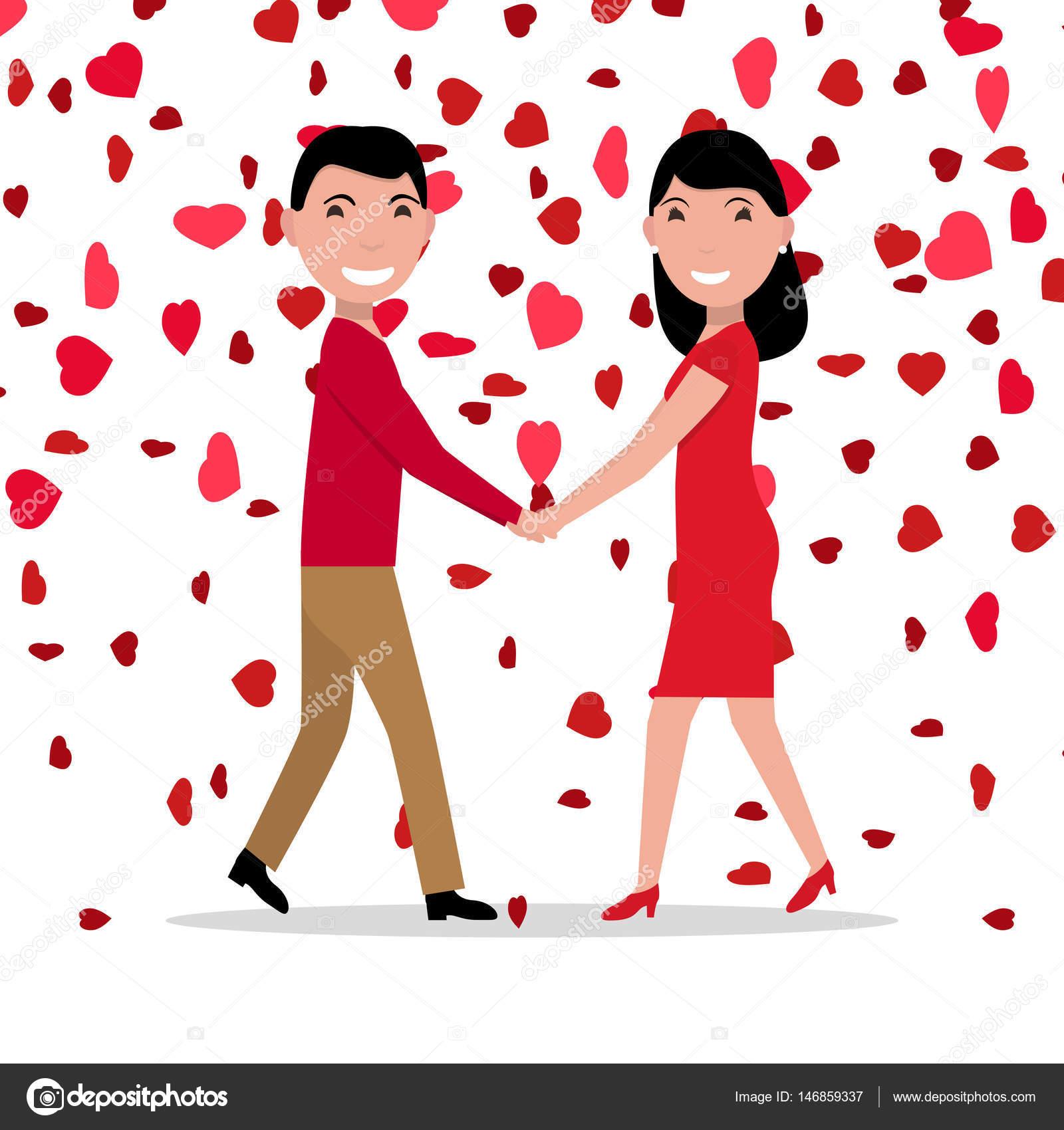 Dibujos Parejas De Amor Pareja De Amor De Dibujos Animados Vector