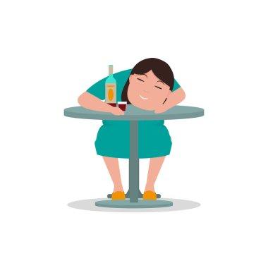 Vector cartoon drunken woman sleeping table