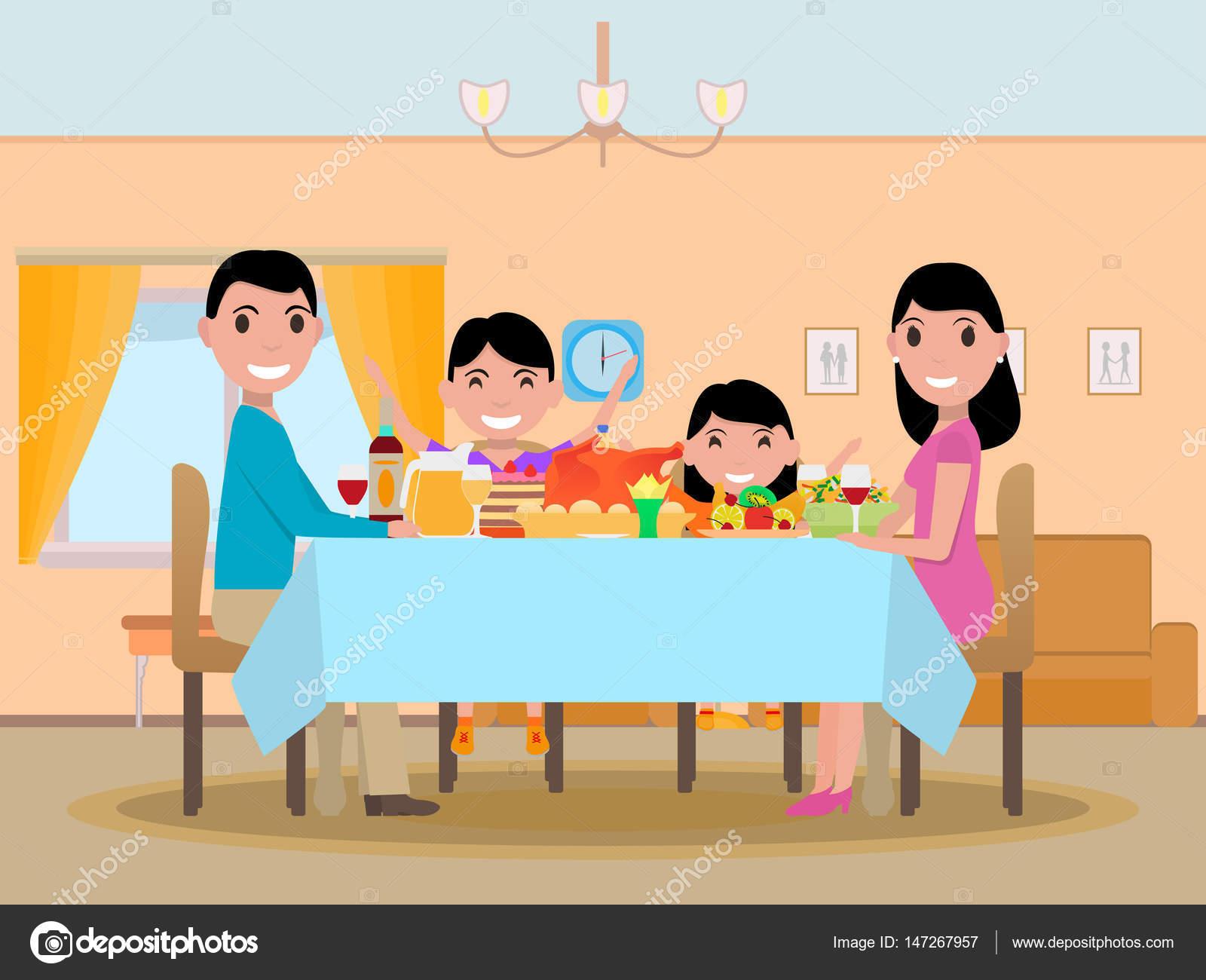 Vetor Desenho Animado Feliz Festivo Jantar Mesa Família