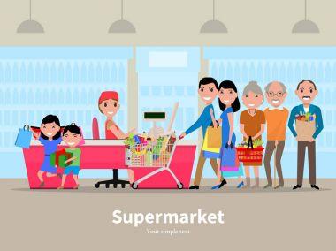 Vector cartoon people doing shopping supermarket
