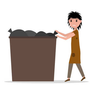 Vector cartoon hobo beggar jobless woman dumpster