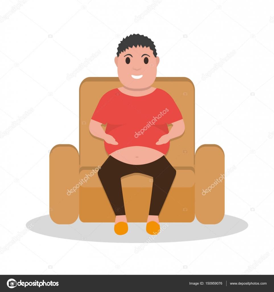 Vector Bande Dessinee Gros Homme Assis Dans Un Fauteuil Image