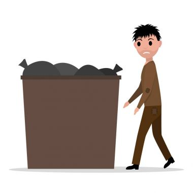 Vector cartoon hobo beggar jobless man dumpster