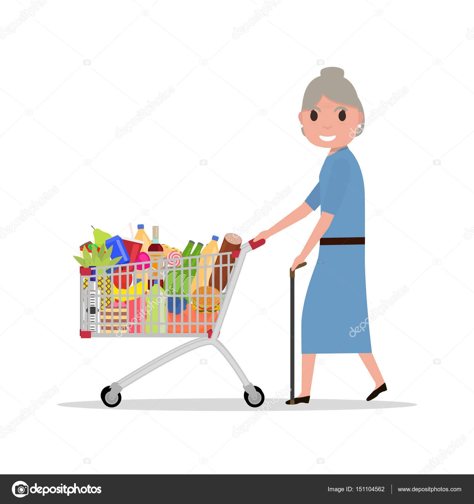 Vector de dibujos animados mujer con carrito de la compra - Carrito dela compra ...