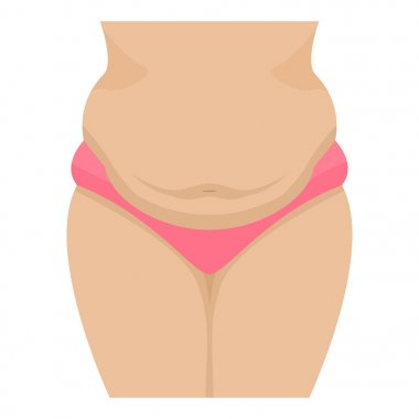 Vector illustration of a fatty female belly