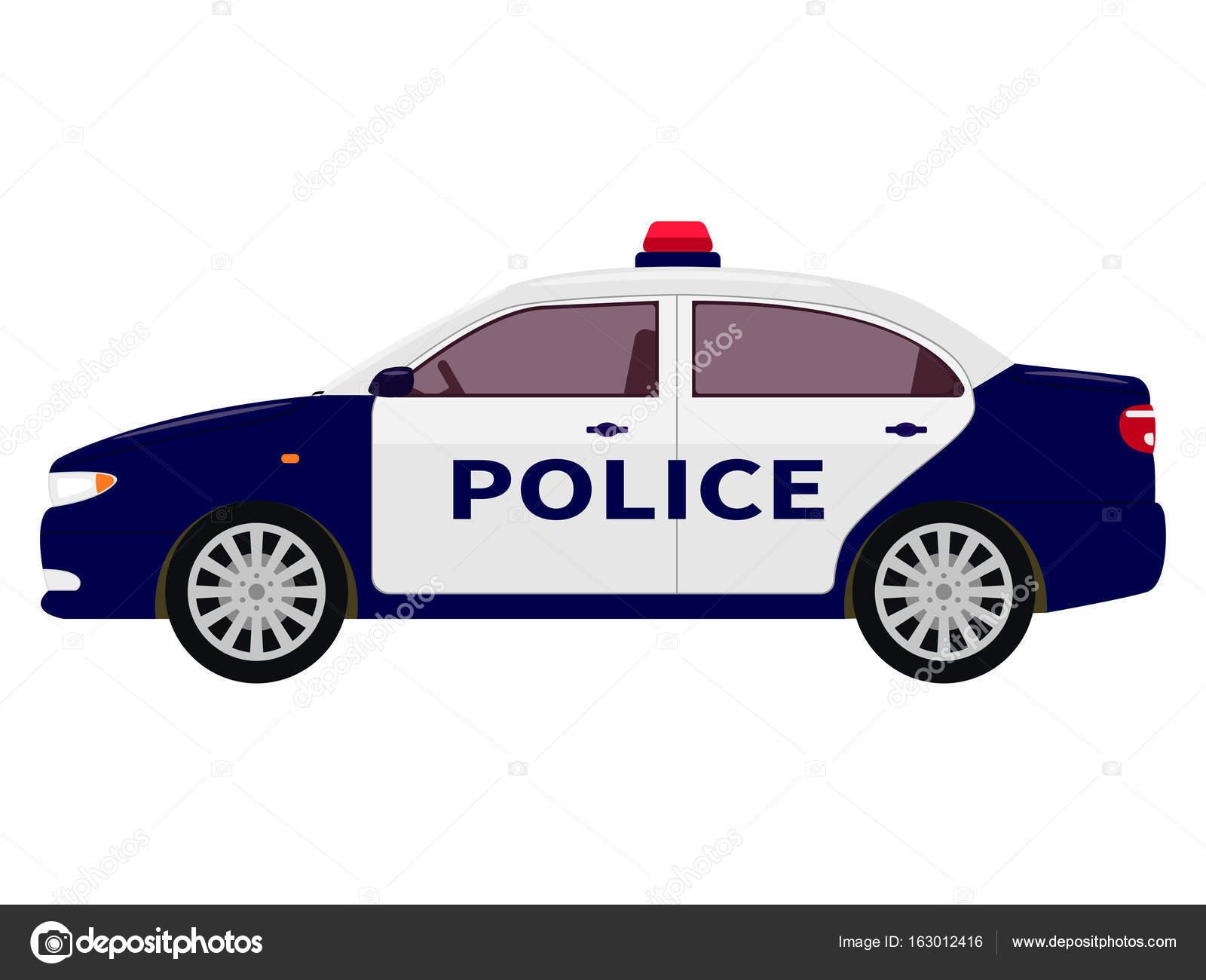 Vektorove Ilustrace Kreslene Policejni Auto Stock Vektor