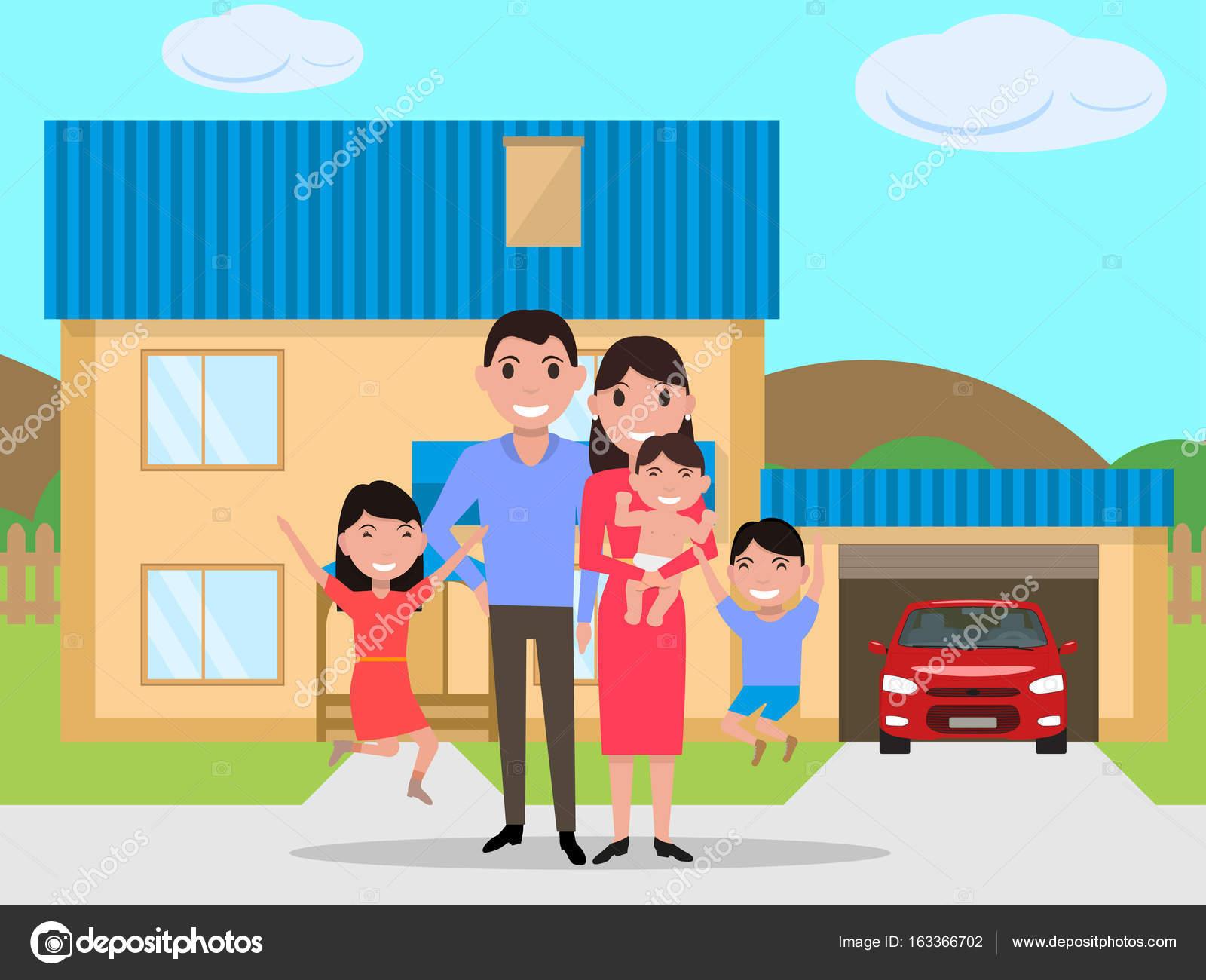 Vector Feliz Viaje Familia: Vetor Desenho Animado Feliz Família Comprou Uma Casa Nova