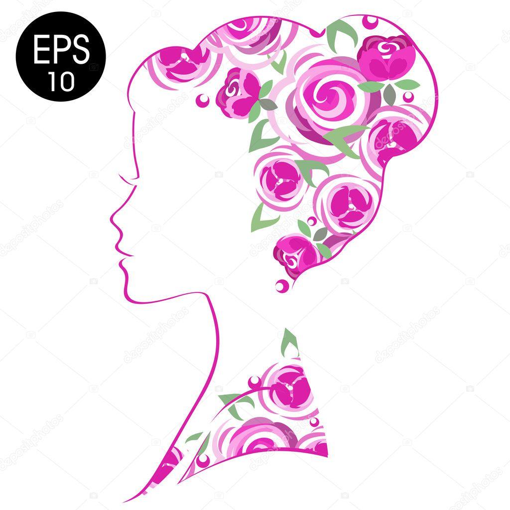 Vector Stock Mujer Silueta Flores. Perfil