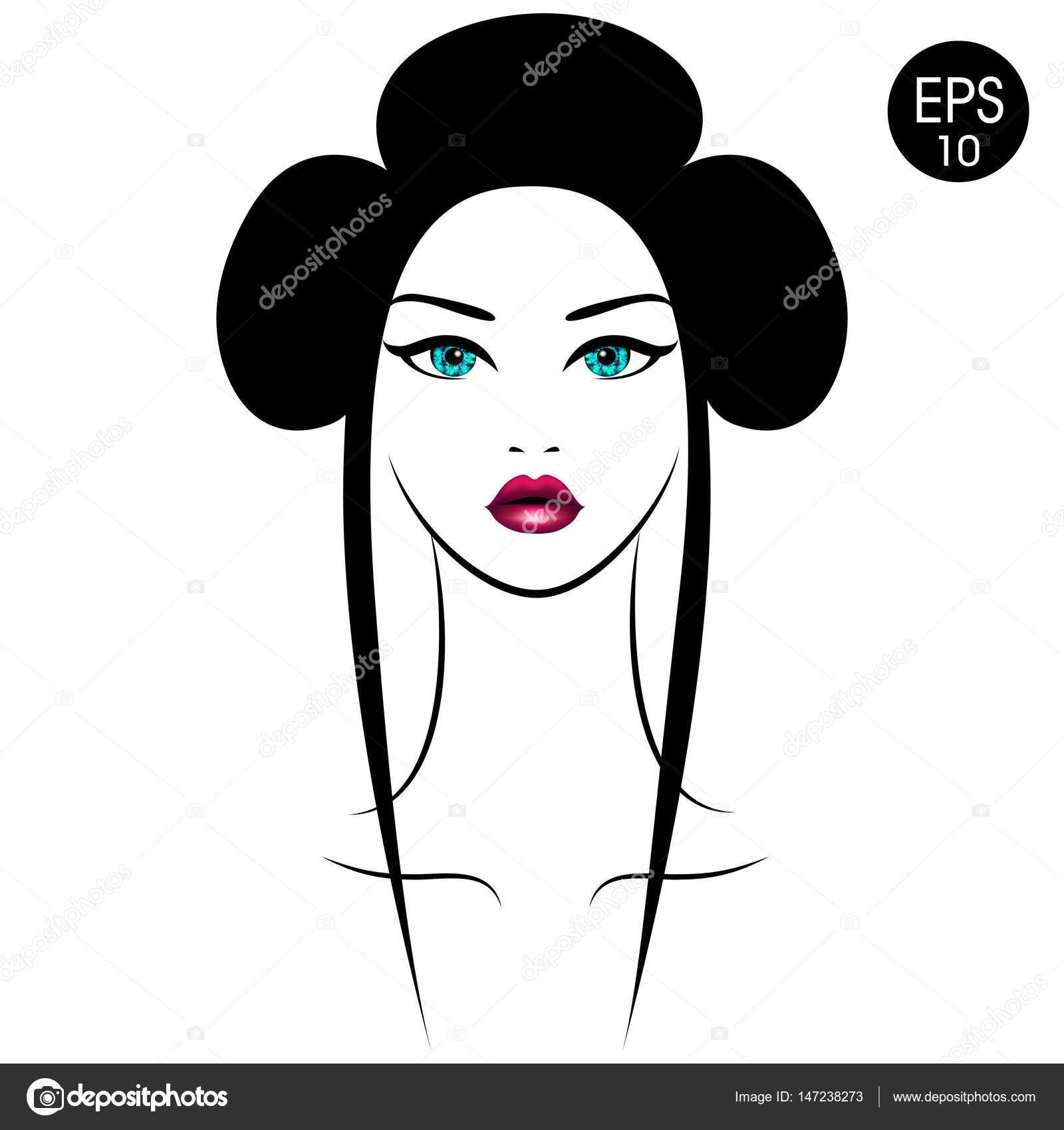Femme asiatique de vecteur. Portrait de jeunes filles avec coiffure  traditionnelle \u2014 Image vectorielle