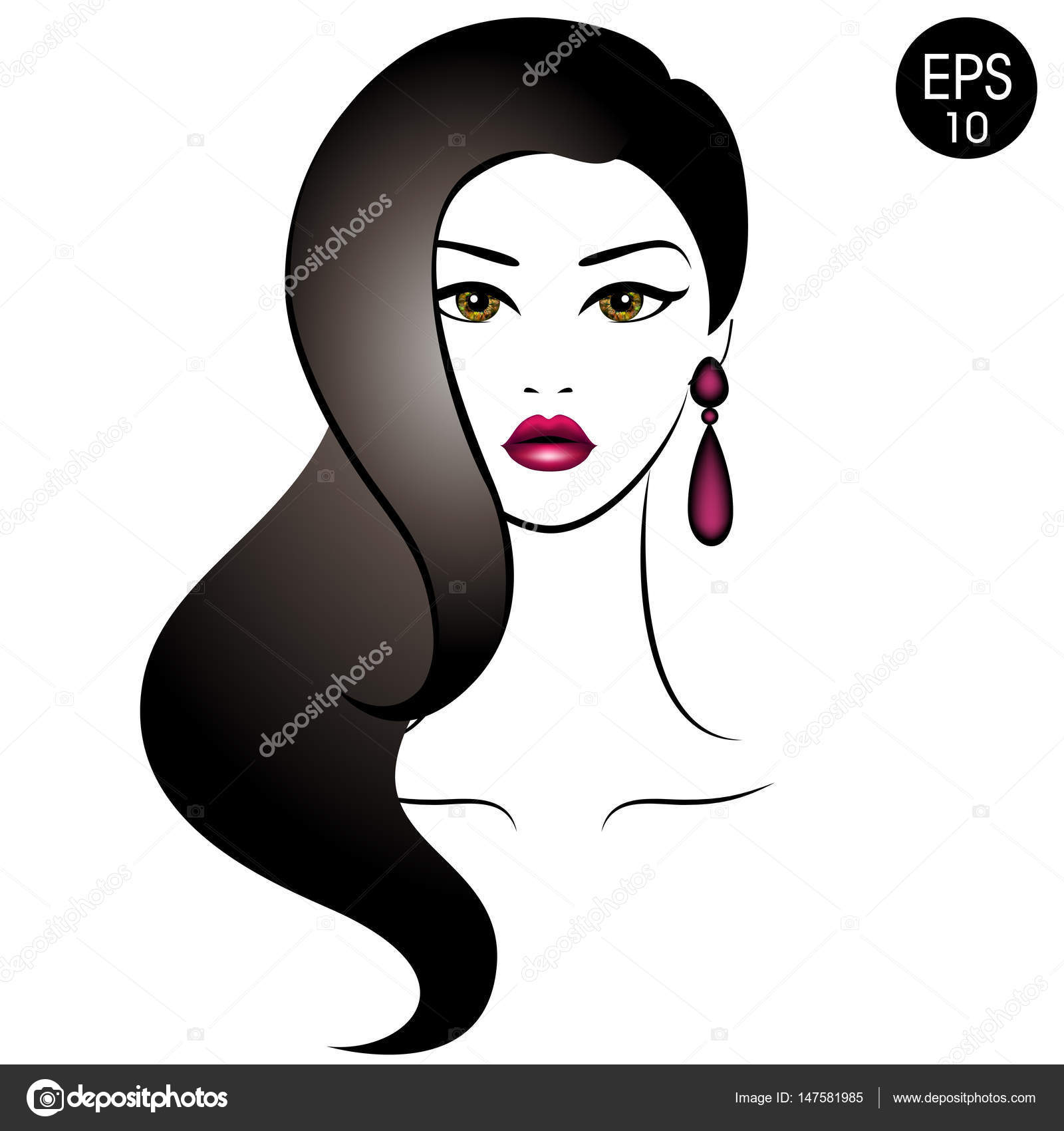 Vector Stock Woman With Black Hair Beauty Girl Portrait With