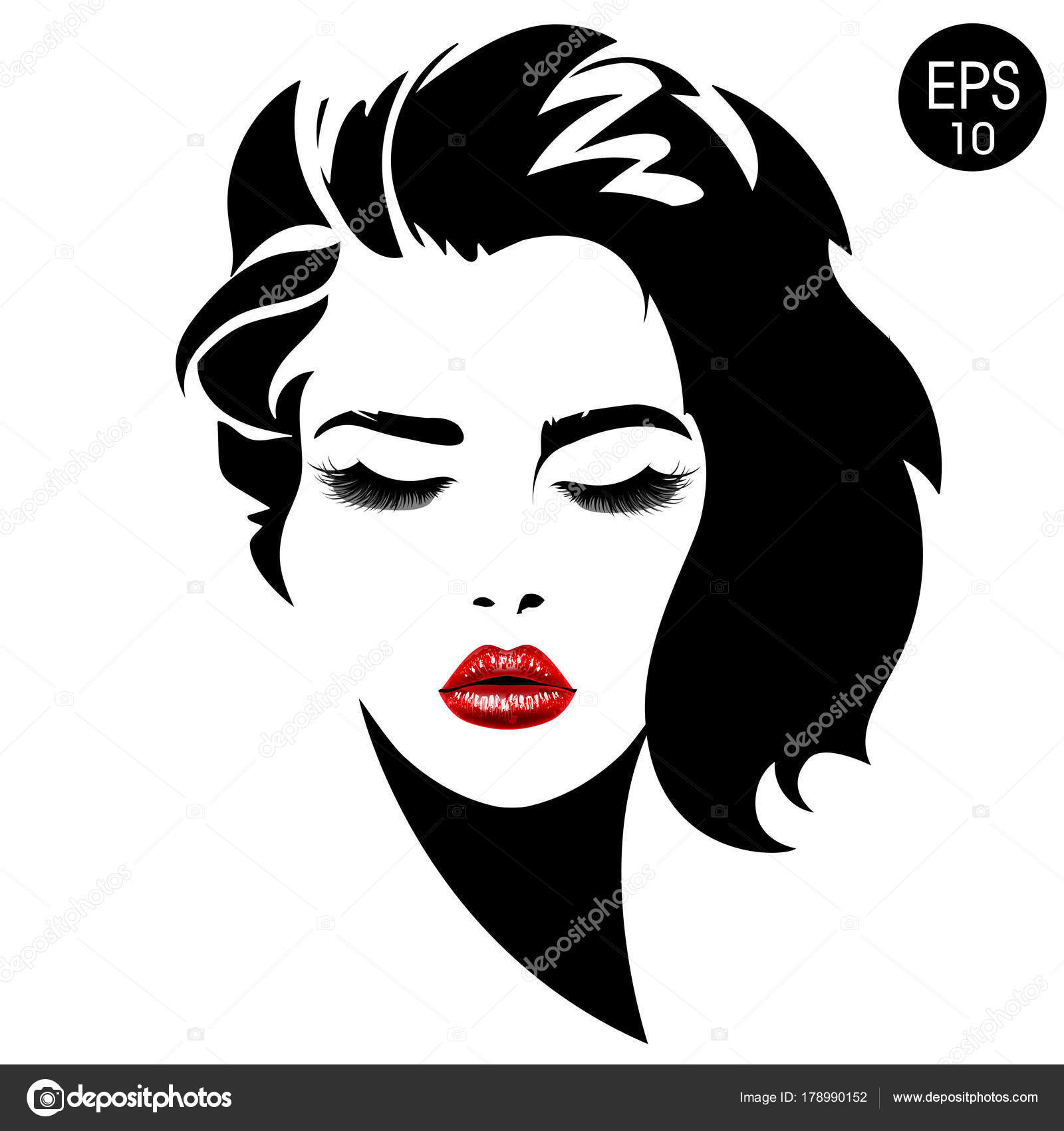 Woman Face. Vector Fashion Portrait Of Pretty Girl With