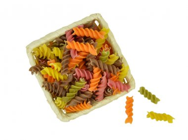 Colorful raw pasta. Isolate without shadow.