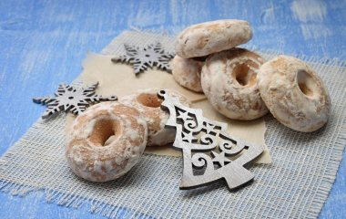 Christmas Holiday Background with Gingerbread cookies,  Christma