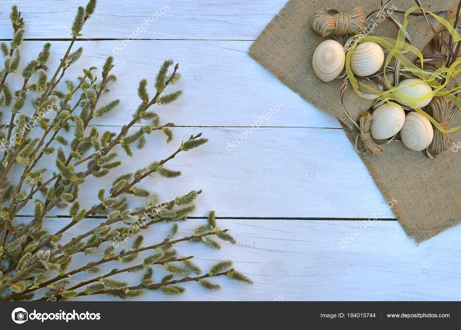 Branches On Old Wooden Boards Top View A Symbol Of The Rebirth
