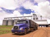 Kamion naložený s sójové boby čeká před centrem skladování obilí farmy ve státě Mato Grosso