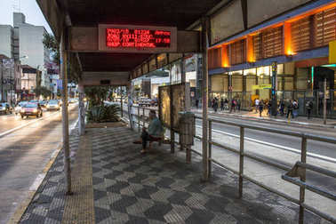 Sao Paulo, SP, Brazil. August 04, 2016.Bright with information of arrival of the bus at bus stop Paulista, located at the corner of Consolacao Street and Paulista Avenue, downtown Sao Paulo, SP.