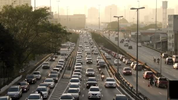 Heavy traffic on the East-West connection, Radial Leste Avenue, at morning day, in downtown Sao Paulo.