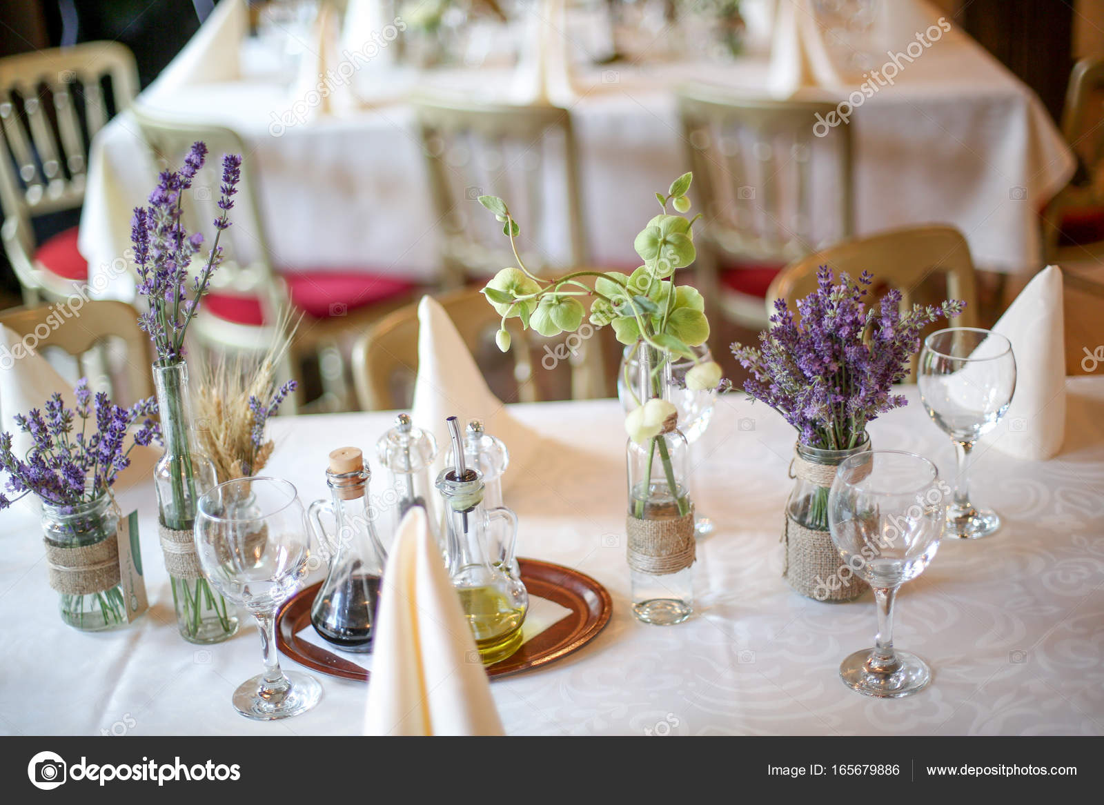Wedding decoration table with lavender and greenery stock photo wedding decoration table with lavender and greenery stock photo junglespirit Gallery