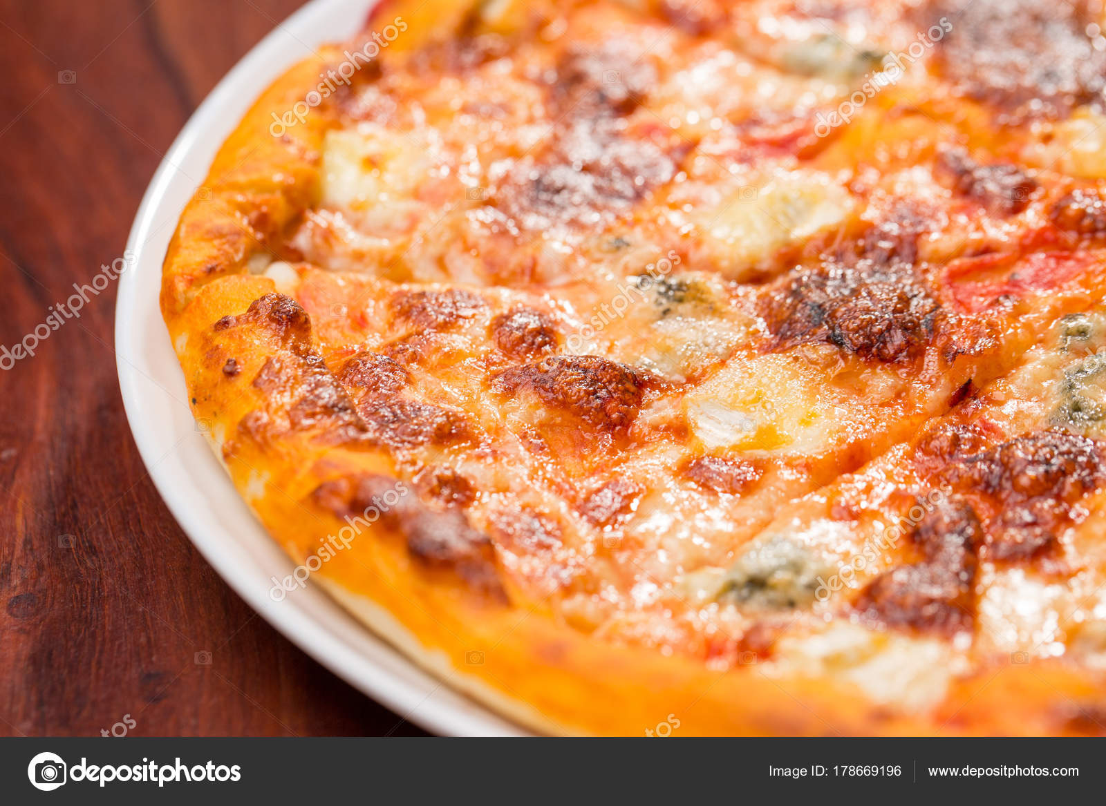 Four Cheese Pizza Top View With Wooden Table U2014 Stock Photo