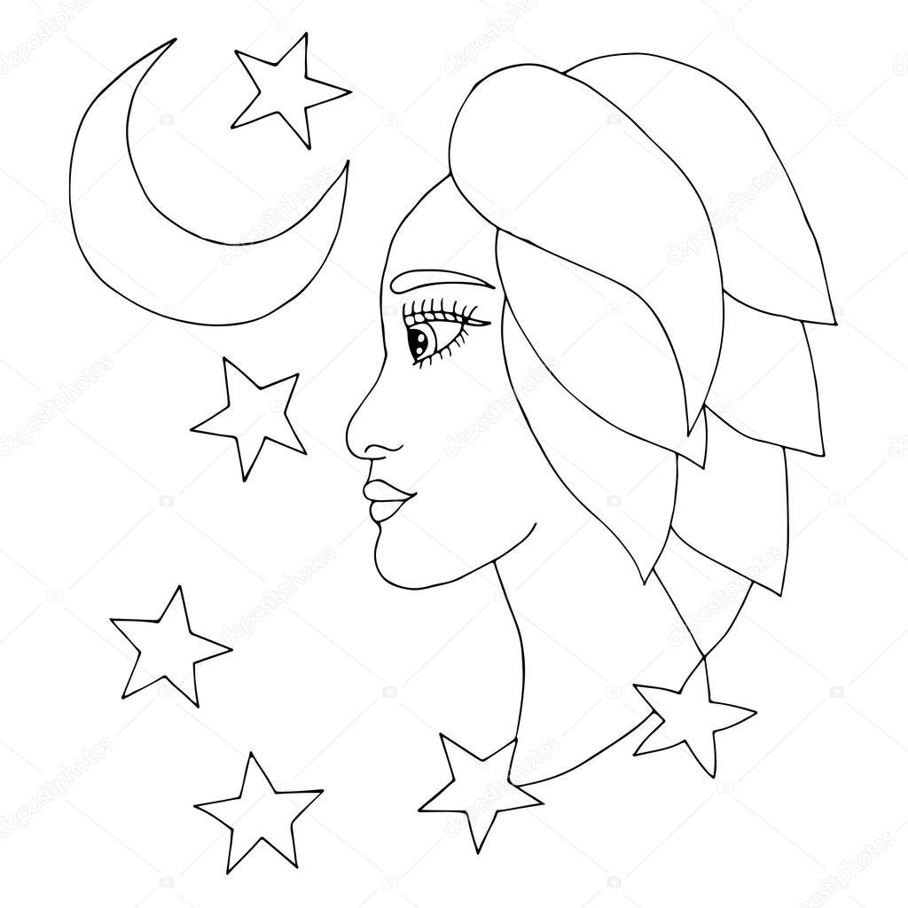 Ay Ve Yıldız Ile Güzel Kız Stok Vektör Ellina200 At Mailru 124949826
