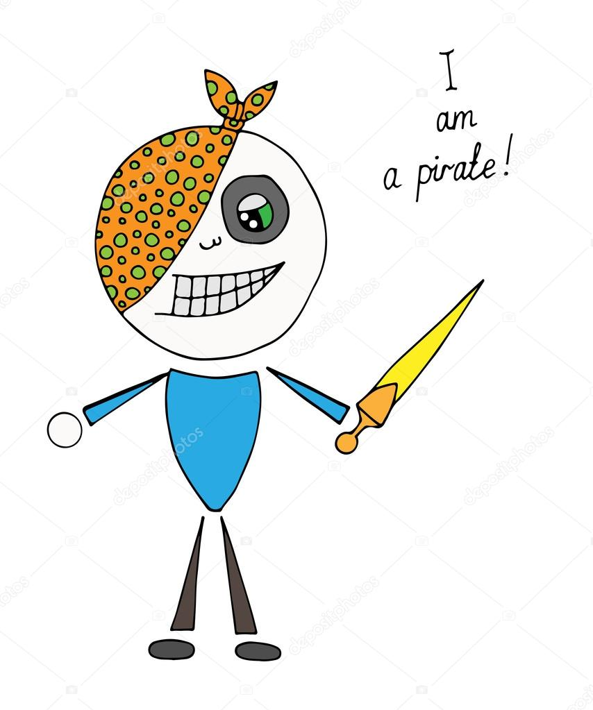 Colores poco pirata con espada y texto de pirata de am — Vector de ...
