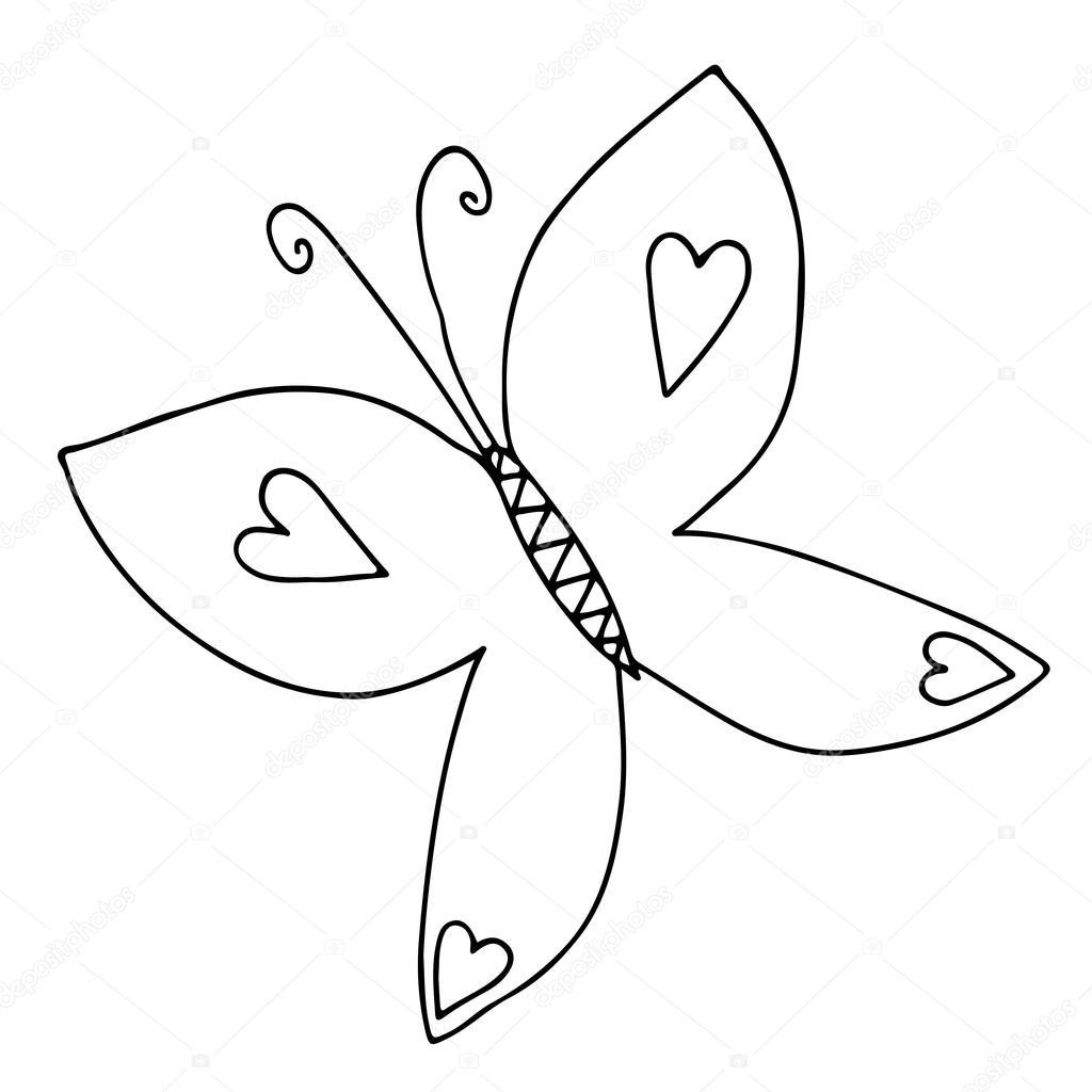 Siyah çizgi Butterfly Tattoo Boyama Kitabı Için Stok Vektör