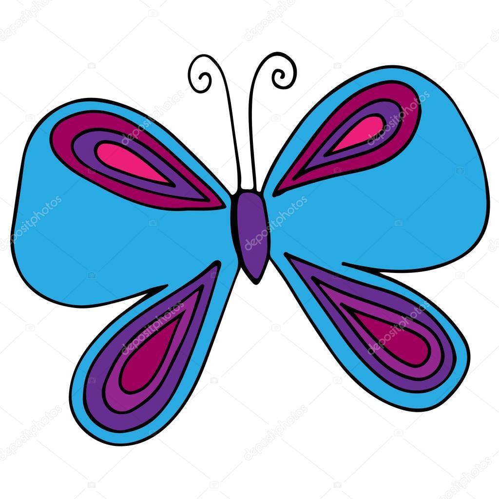 Farfalla Blu Isolata Per Tatuaggio, Disegni Da Colorare
