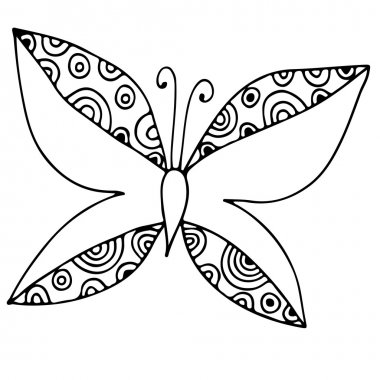 Black line butterfly for different card, invitation, posters