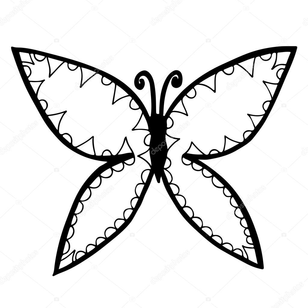 Silueta De Mariposa Para Imprimir Mariposa De La Línea Negra Para