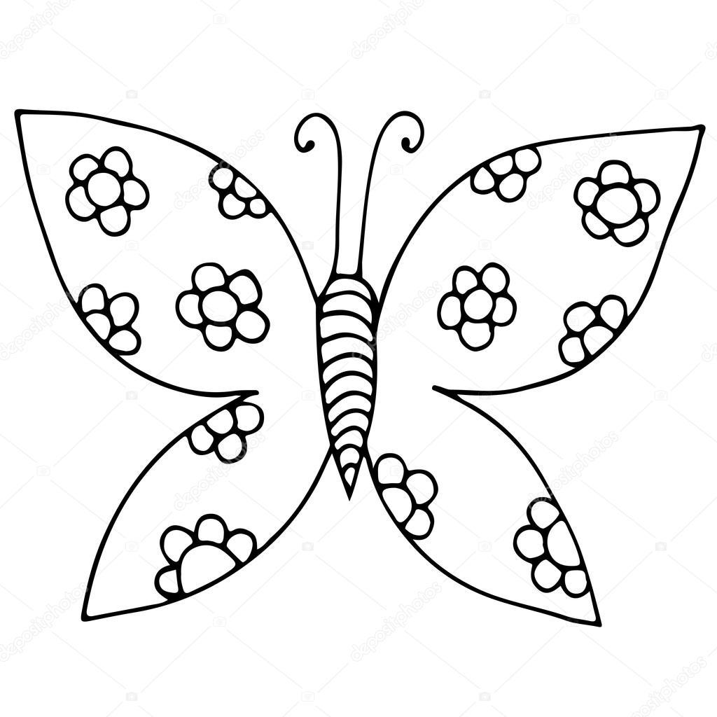Siyah çizgi Kelebek çiçek Dövme Boyama Kitabı Için Stok Vektör