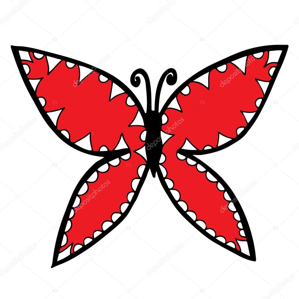 Mariposa roja y blanca para el tatuaje, libro para colorear ...