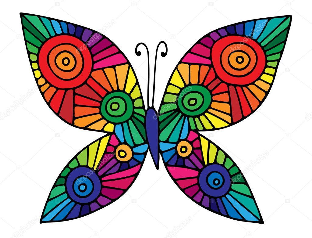 Colorida mariposa abstracta para la tarjeta de felicitación, libro ...