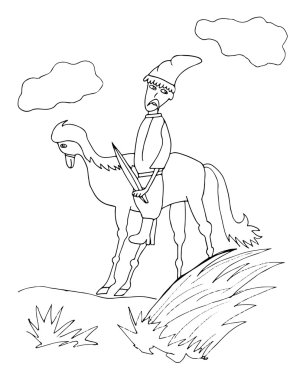 Cossack on a horse silhouettes