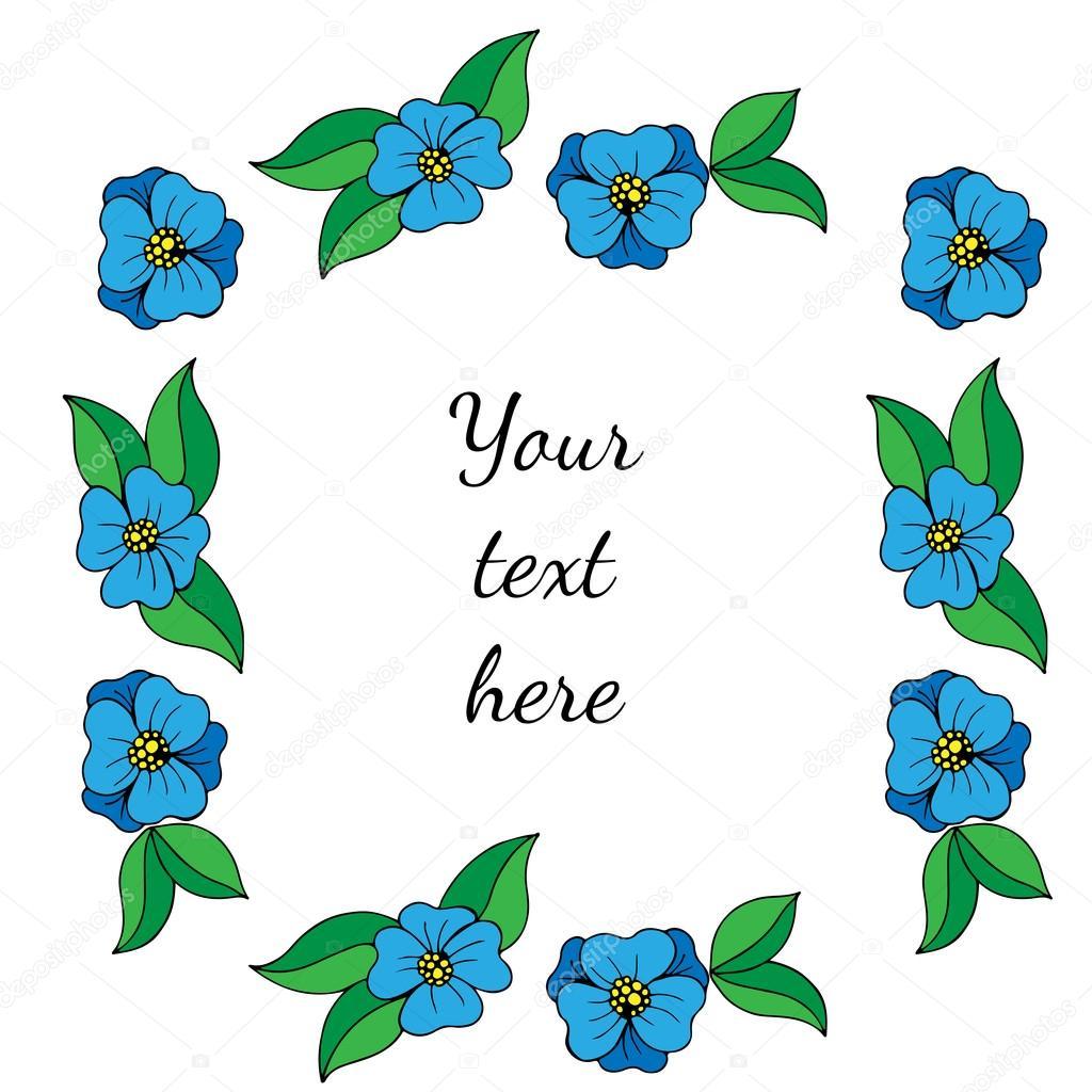 Marco adornado con flores azules y hojas verdes — Archivo Imágenes ...