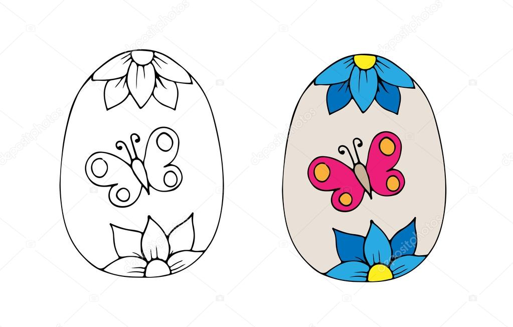 Dibujo de un huevo de mariposa | Huevo de Pascua dibujado mano con ...