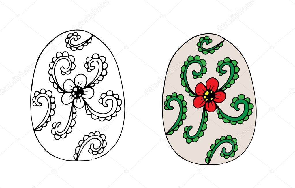 Mano dibujada huevo de Pascua con flores rojas y hojas verdes ...