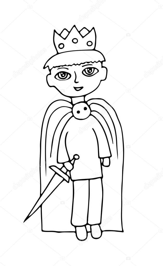 Küçük çocuk Ile Bir Prens Kocakarı Ile Takım Elbise Stok Vektör