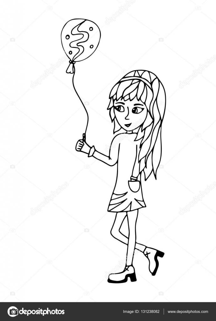 Een Jong Meisje Heeft Een Ballon In Handen Stockvector Ellina200