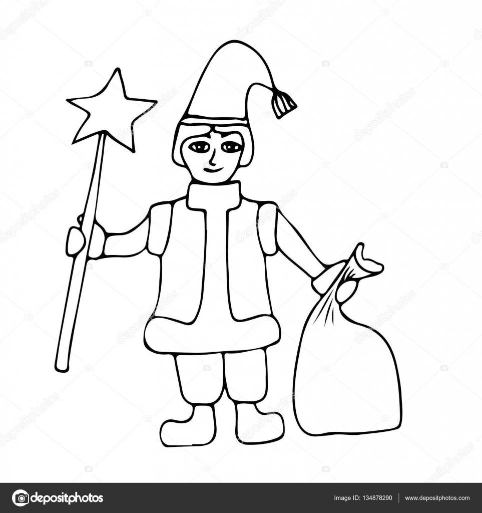 Küçük Noel Baba Yardımcısı Yıldız Ve Hediyeler Ile çuval Ile Stok