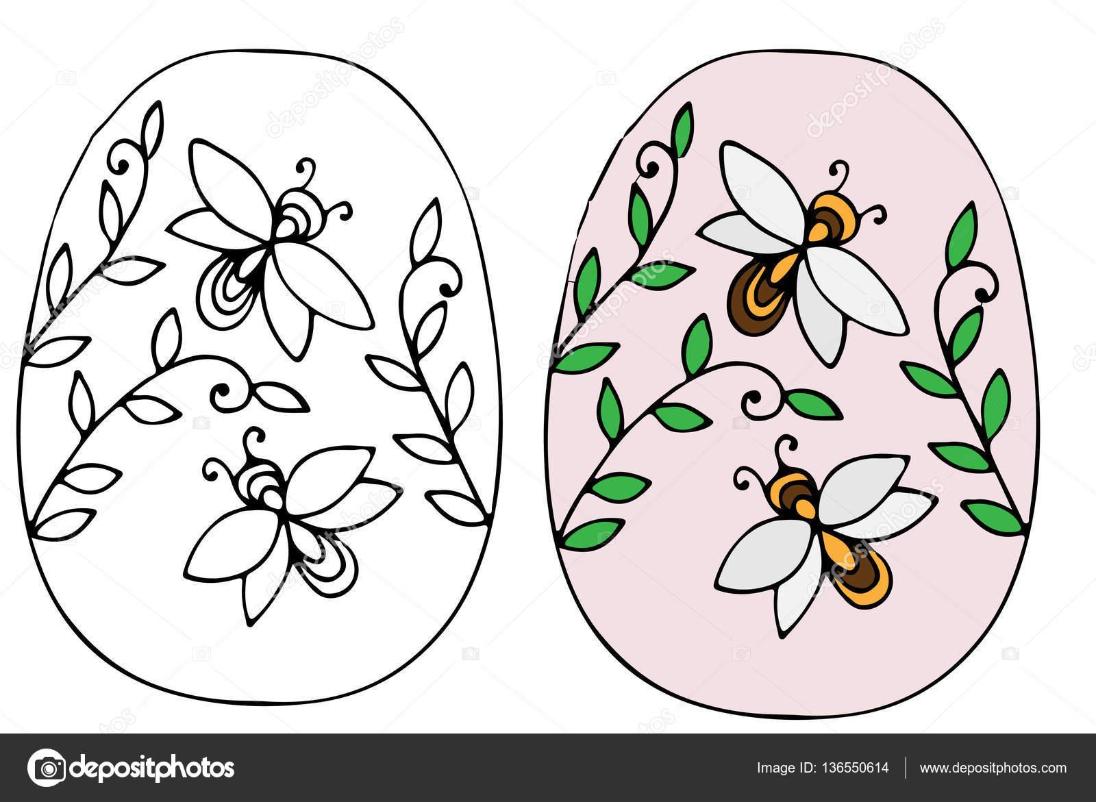 Huevo de Pascua dibujado mano con hojas y abejas — Vector de stock ...