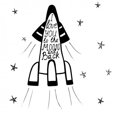 Lettering I love you to the moon and backin a rocket