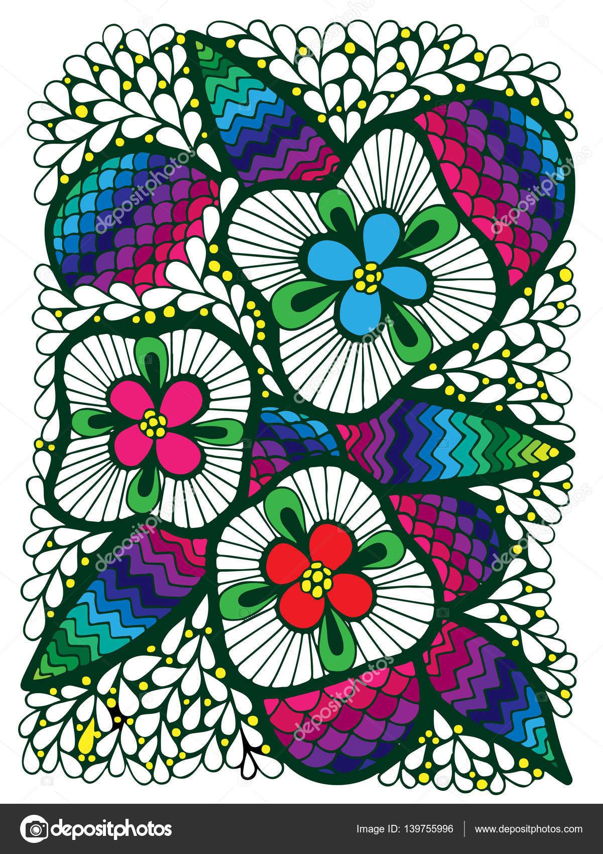 abstracto colorido flor con hojas — Archivo Imágenes Vectoriales ...