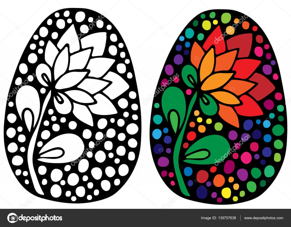 Huevo de Pascua con flores de colores para colorear el libro ...