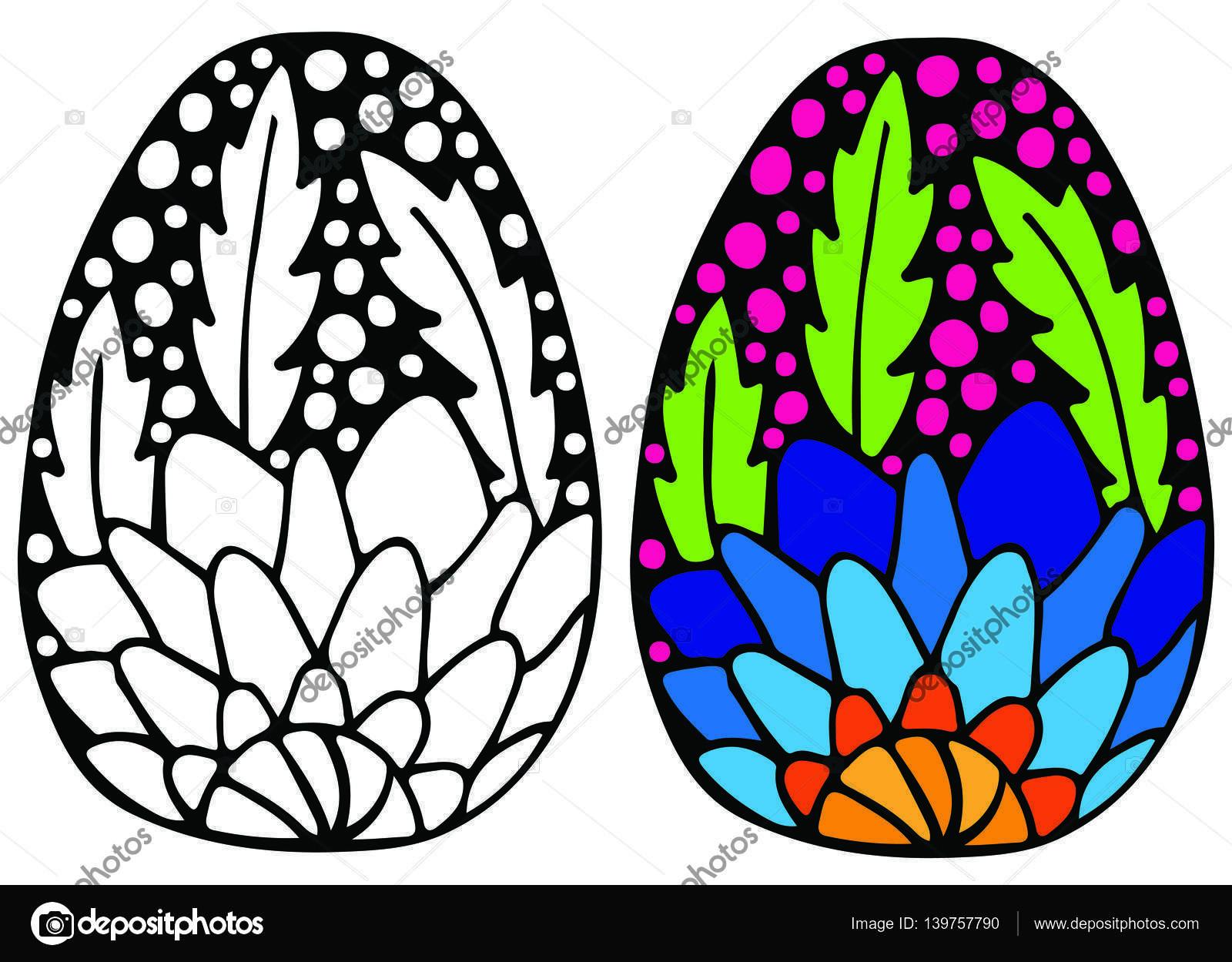 Huevo de Pascua con la flor azul para colorear libro — Vector de ...