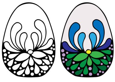 Colorful Easter egg with flower for coloring book